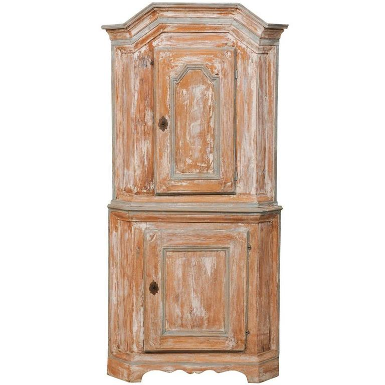 Swedish Late Baroque Corner Cabinet with Scraped Paint and Scalloped Base