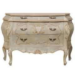 Painted Wood Bombé, Rococo Inpired Four-Drawer Chest Adorned with Shell Carving