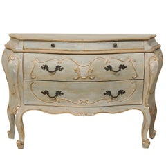 Rococo Style Bombé Chest of Four Drawers with Grey, Blue, Green & Beige Accents