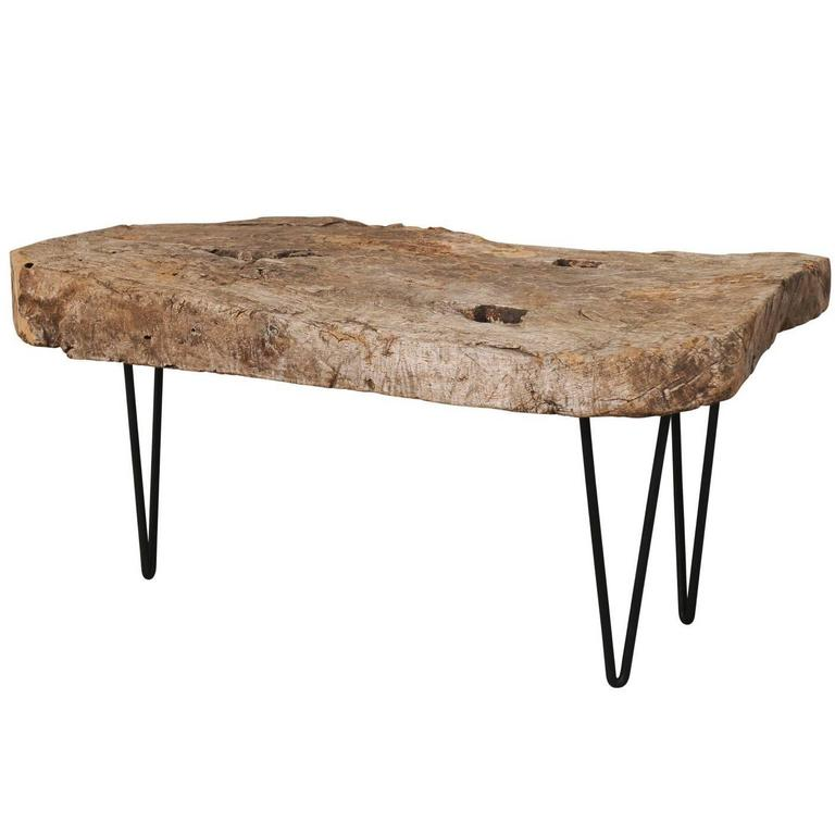 Rustic Wood Slab Coffee Table For Sale At 1stdibs: Custom-Made Coffee Table Of Old Natural Rustic Spanish