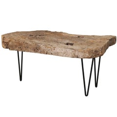 Custom-Made Coffee Table of Old Natural Rustic Spanish Wood, Iron Base