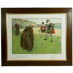 Vintage Humorous Golf Print, Putting For His Nose