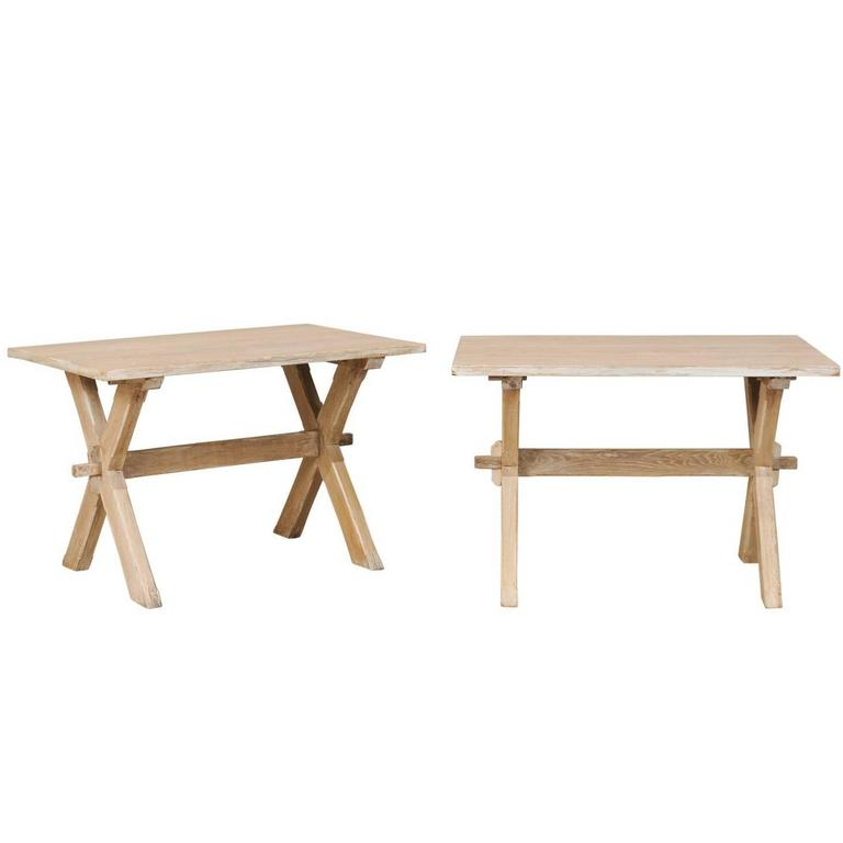 Pair of Mid-Century French Side or Accent Tables with X-Shape & Cross Stretchers