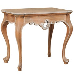 Brazilian Wood Accent / End / Side Table with Painted Trim and Cabriole Legs
