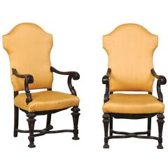 Pair of Italian Carved Wood Armchairs with Serpentine, X-Shaped Cross Stretcher