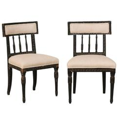 Pair of Swedish Period Gustavian Side Chairs with Black Color, 19th Century