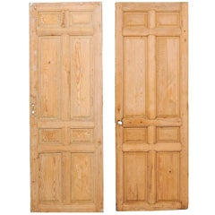 Pair of Single French Eight-Panel Wood Doors with Natural Wood Finish
