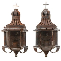 Pair of Mexican Dark Colored Patinated Single Candle Sconces with Crosses