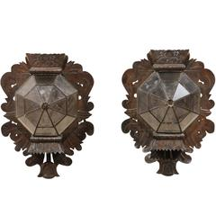 Pair of Folk Art Mexican Single Candle Sconces Handcrafted from Tin and Glass