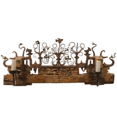 Unique Two-Light Sconce from a Sicilian Ox Cart Ornament of Wood & Metal