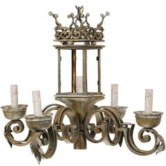 Italian Chandelier with Regal Crown at the Top, Hand-Forged Iron & Painted Wood