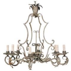 French Painted Iron Eight-Light Iron Chandelier with Acanthus Leaves and Scrolls