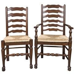 Set of Eight English Oak Wavy Ladder Back Chairs with Rush Seats
