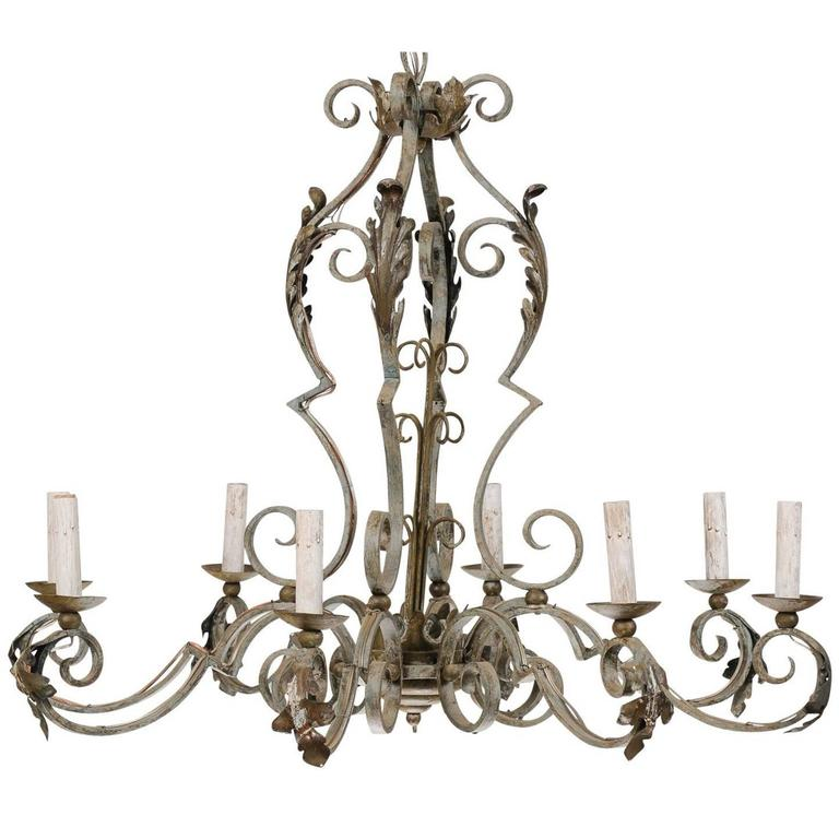 Ornate Iron Ring Chandelier: Ornate French Painted Iron Eight-Light Chandelier With