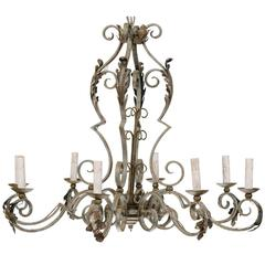 Ornate French Painted Iron Eight-Light Chandelier with Acanthus Leaves