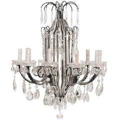 Italian Ten-Light Crystal Chandelier with Black Wrought Iron Armature