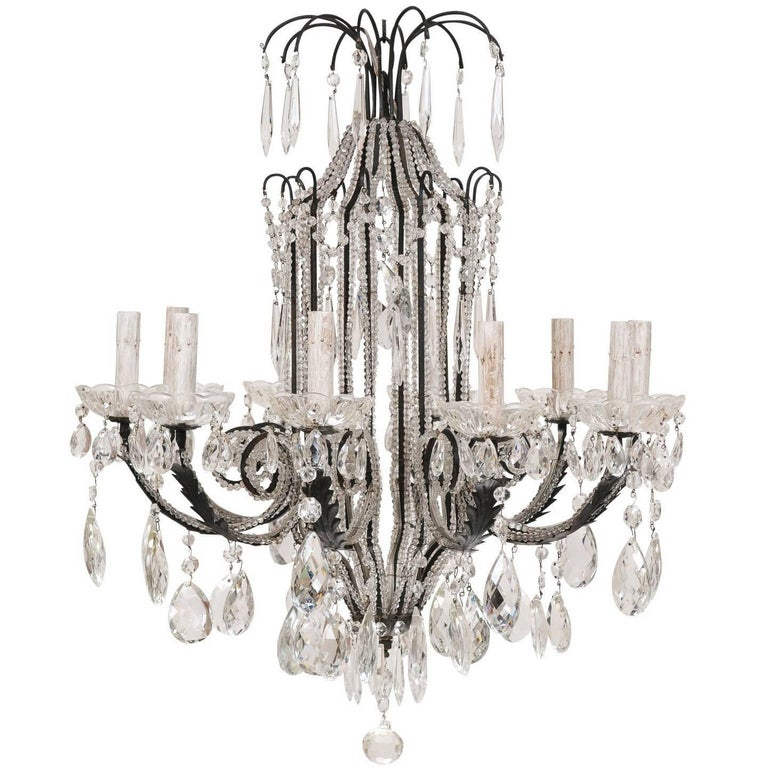 Italian Ten-Light Crystal Chandelier with Black Wrought Iron Armature For Sale
