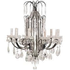 Italian Ten-Light Crystal and Dark Wrought Iron Chandelier