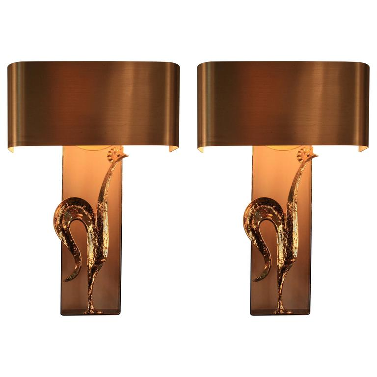 Pair of 1970s Maison Charles Rooster Wall Sconces