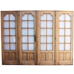 Set of Four Painted Pine French Room Dividing Doors, circa 1900
