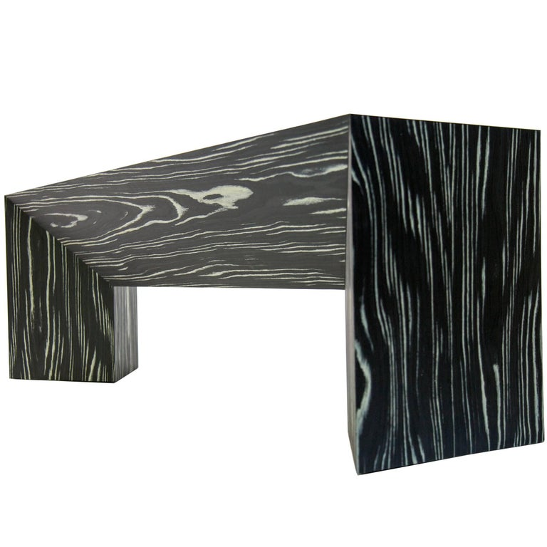 Contemporary Minimal Black and White Ecowood Veneer Fold Bench, In Stock, USA