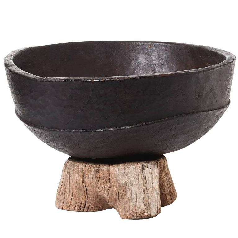 "20th Century Black African Bowl on 19th Century Chinese Root ""Stand"""