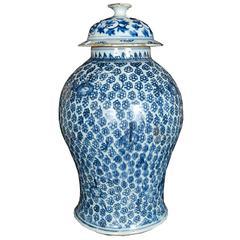 Chinese Blue and White Chrysanthemum Baluster Jar