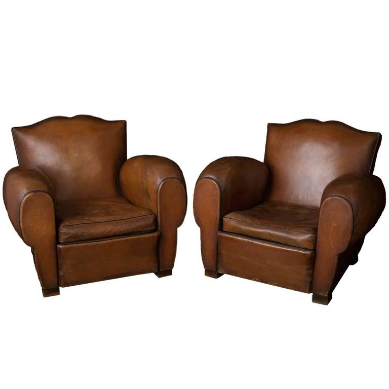 Pair of King-size French Mustache Leather Club Chairs