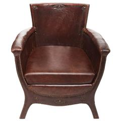 20th Century Otto Schulz Original Leather and Nail Head Swedish Armchair