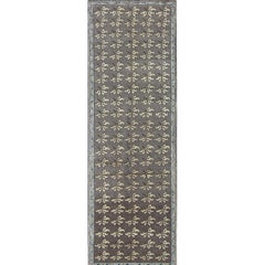 Turkish Tulu Runner with Gray, Ivory and Charcoal All-Over Leaves Design
