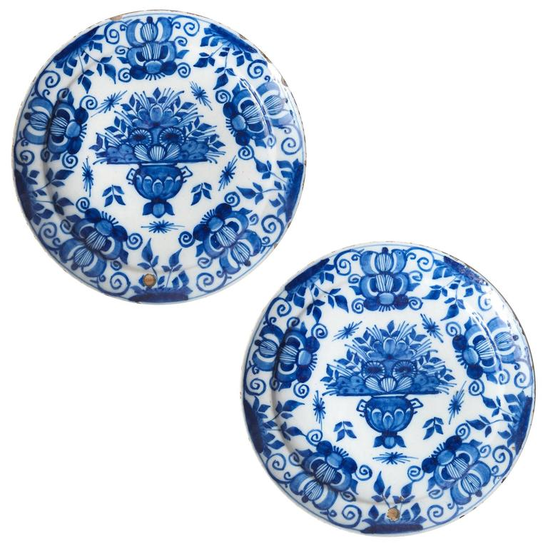 Pair of Tin Glazed Dutch Delft Cobalt Blue and White Dishes