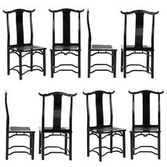 Set of Eight Italian Black Lacquered Dining Chairs, circa 1970
