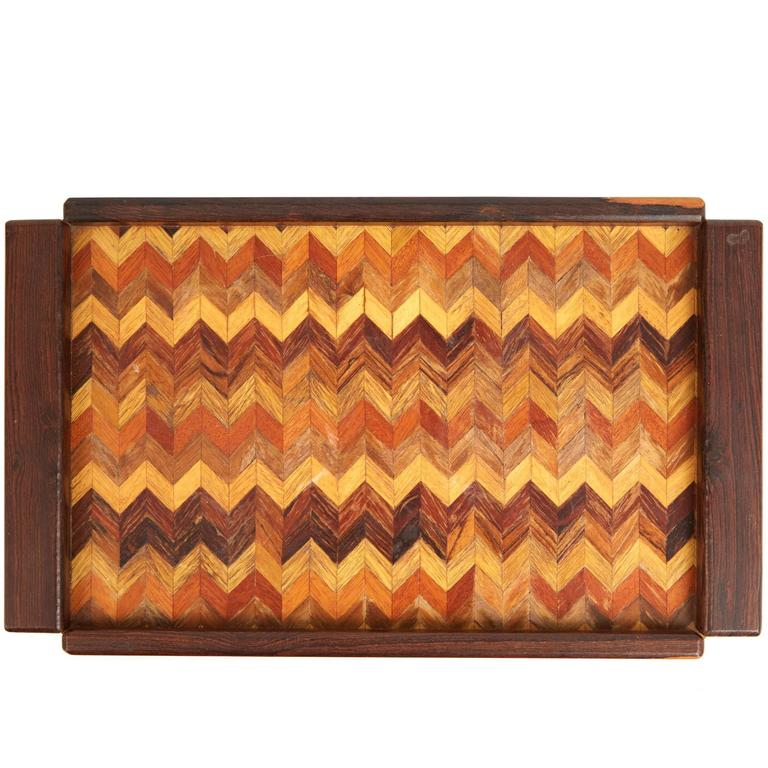Don Shoemaker Cocobolo, Rosewood Inlaid Trays for Señal, circa 1970 For Sale