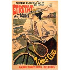 Original Antique Chemins De Fer De L'Ouest Paris Etretat Railway Poster: Tennis