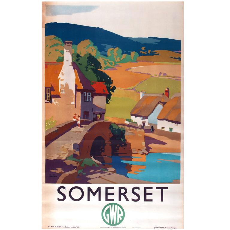 Original Vintage Great Western Railway Travel Poster Advertising Somerset by GWR
