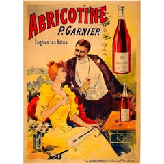 Original Antique Belle Epoque Drink Advertising Poster for Abricotine Liqueur