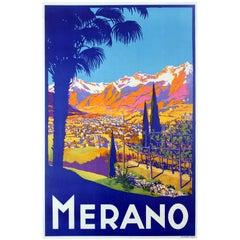 Original Vintage Travel Poster Advertising Merano in the Tyrol Region Italy