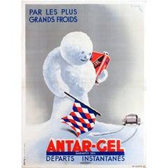 Original Vintage Advertising Poster: Antar Gel Antifreeze For The Coldest Days