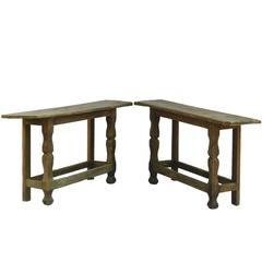 Pair of Console Tables Primitive Folk Art Brutalist, French Country House