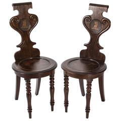 Diminutive Armorial Hall Chairs
