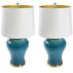 Aqua Colored Ceramic Lamps