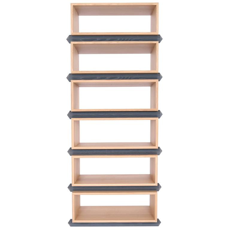 Stack storage six tier wood open shelves for sale at 1stdibs for Furniture of america nara contemporary 6 shelf tiered open bookcase