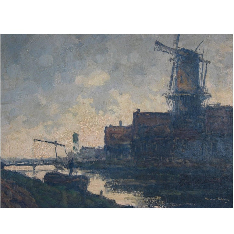 Wim Van Norden, Dutch Landscape with Canal and Windmill For Sale