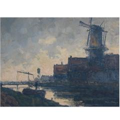 Wim Van Norden, Dutch Landscape with Canal and Windmill