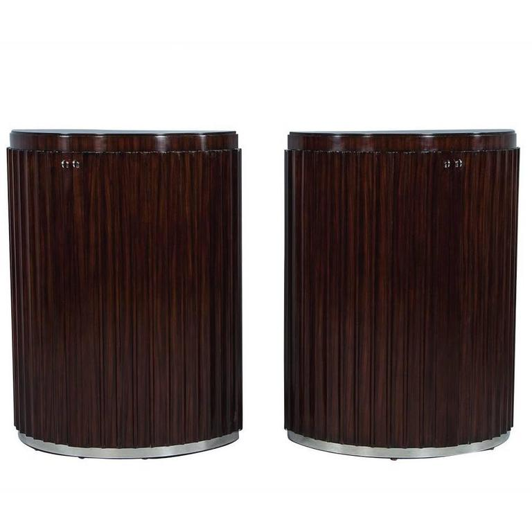 Pair of Art Deco Fluted Commodes in Rosewood For Sale