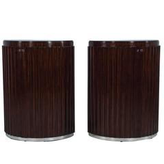 Pair of Art Deco Fluted Commodes in Rosewood