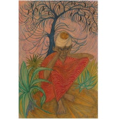 Indian Ascetic Early Work by Margot Lovejoy, Mixed-Media on Paper