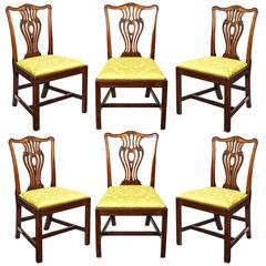 Set of Six English 18th Century George III Mahogany Chippendale Dining Chairs