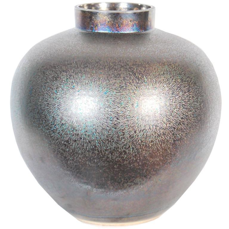 Large Metallic Glazed Japanese Ceramic Vase By Yasuaki Maeda 20th