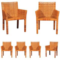 Outstanding Restored Set of Six Cane Chairs in the Style of Jean-Michel Frank